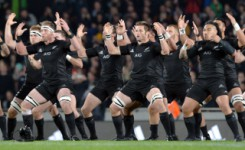 Auckland, New Zealand - August 15, 2015 - Kieran Read, Richie McCaw and Maa Nonu of the All Blacks (front row L-R) perform the Haka ahead of The Rugby Championship match between the New Zealand All Blacks and the Australia Wallabies at Eden Park on August 15, 2015 in Auckland, New Zealand.